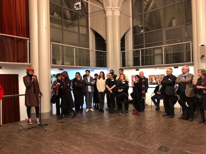 Artistas durante la inauguración de la exposición